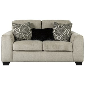 Contemporary Loveseat with Three Toss Pillows