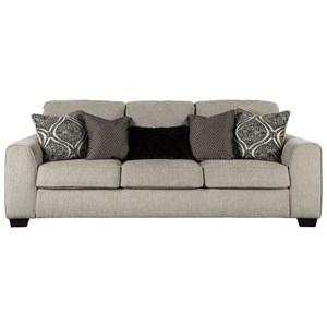 Contemporary Queen Sleeper Sofa with Five Toss Pillows