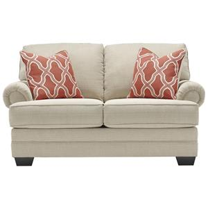 Loveseat with Rolled Panel Arms