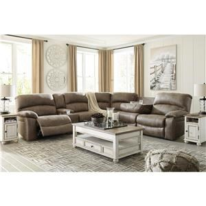 Casual 4-Piece Power Reclining Sectional with USB Ports