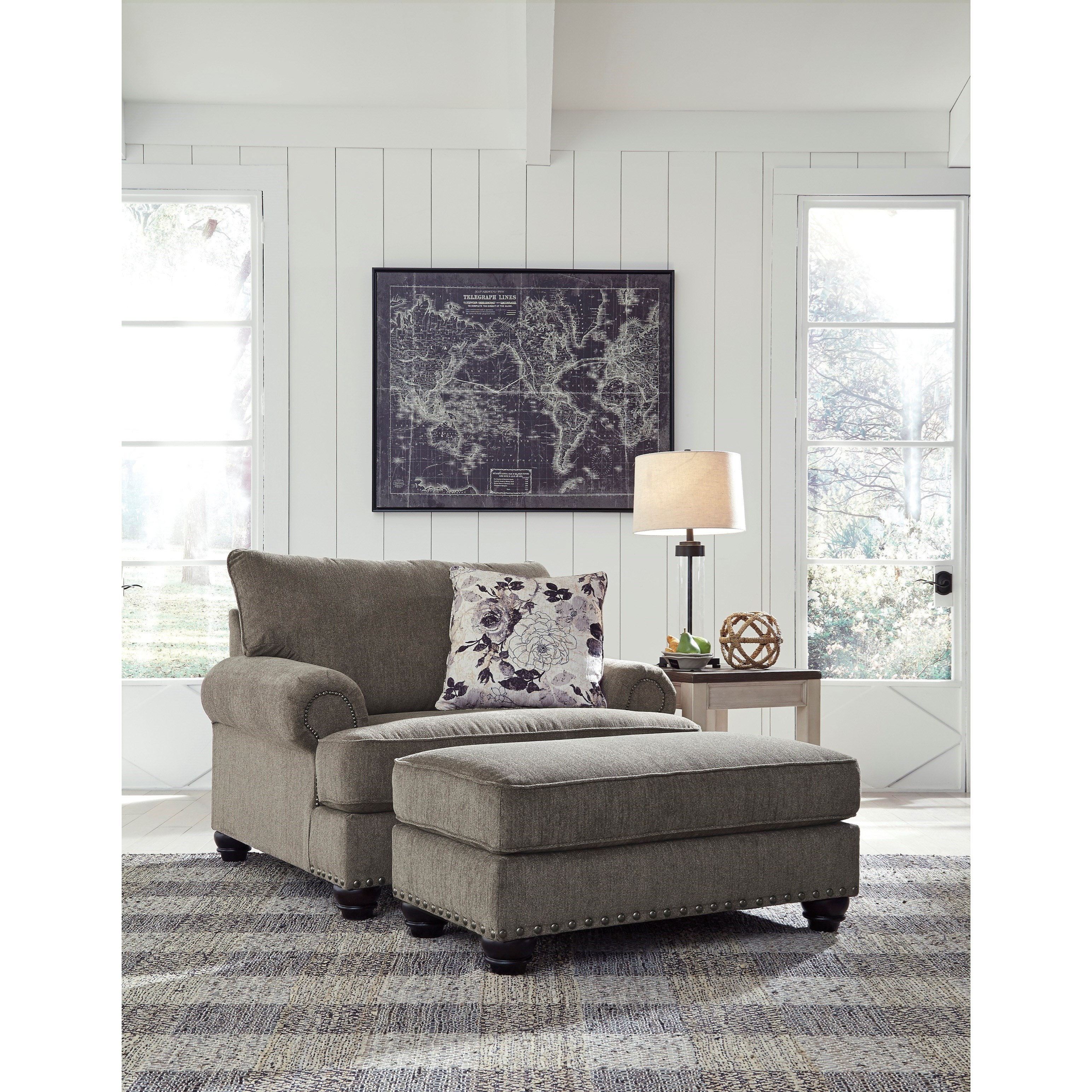 Sembler Chair & a 1/2 and Ottoman Set by Benchcraft at Lindy's Furniture Company