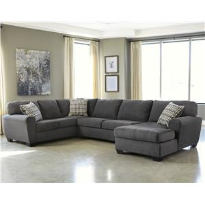 Contemporary 3-Piece Sectional with Right Chaise