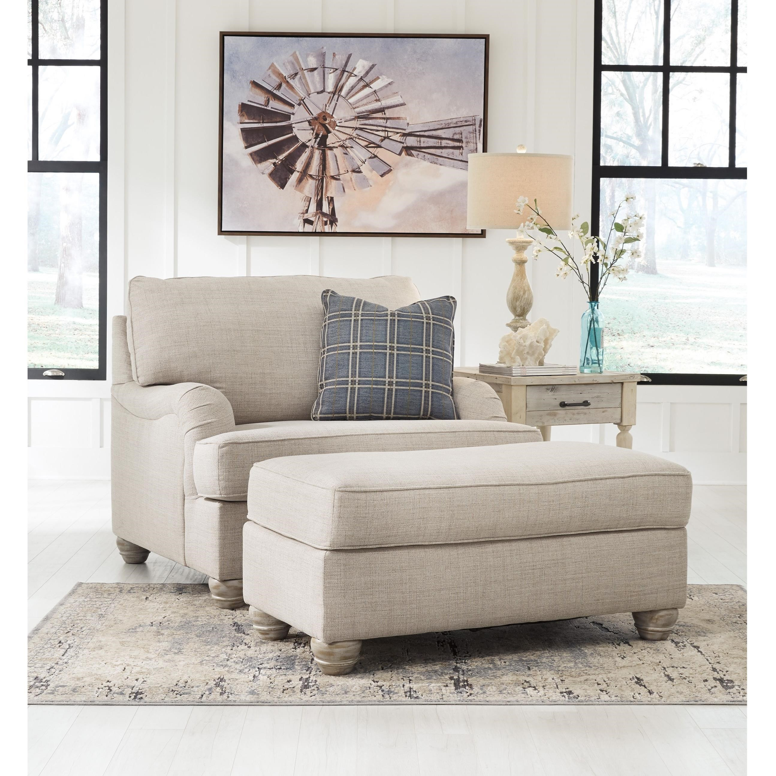 Traemore Chair and a Half with Ottoman by Benchcraft at Walker's Furniture