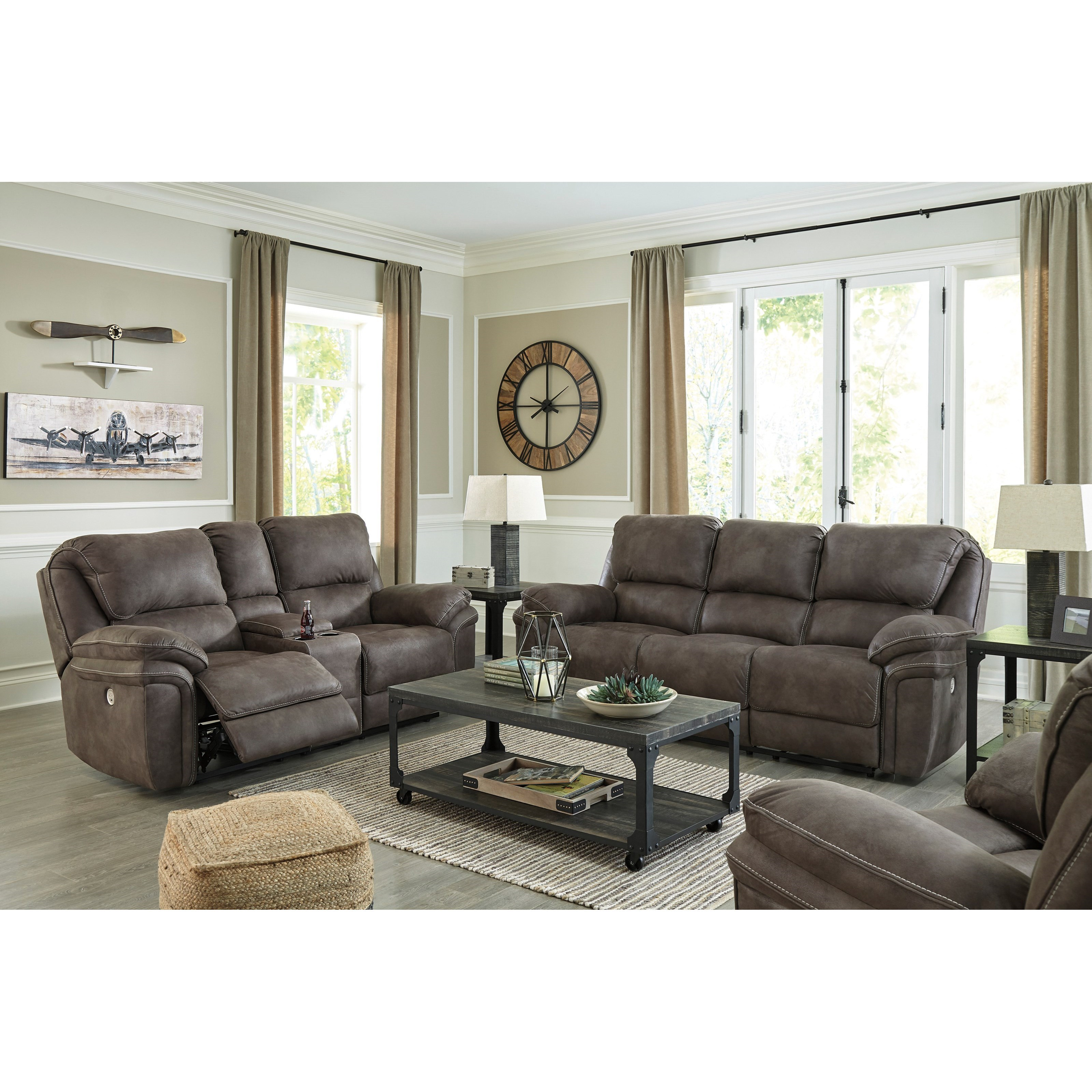 Trementon Power Reclining Living Room Group by Benchcraft at Zak's Warehouse Clearance Center