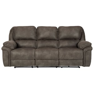 Faux Suede Reclining Power Sofa w/ USB Charging