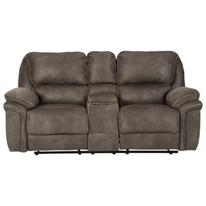 Faux Suede Double Reclining Power Loveseat w/ Console