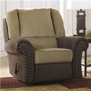 Two-Tone Rocker Recliner with Chenille Fabric/Faux Leather Upholstery
