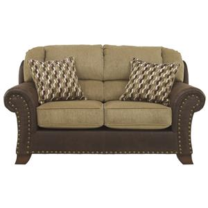 Two-Tone Loveseat with Chenille Fabric/Faux Leather Upholstery