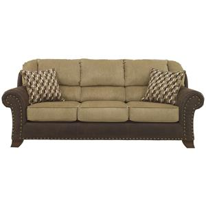Two-Tone Sofa with Chenille Fabric/Faux Leather Upholstery