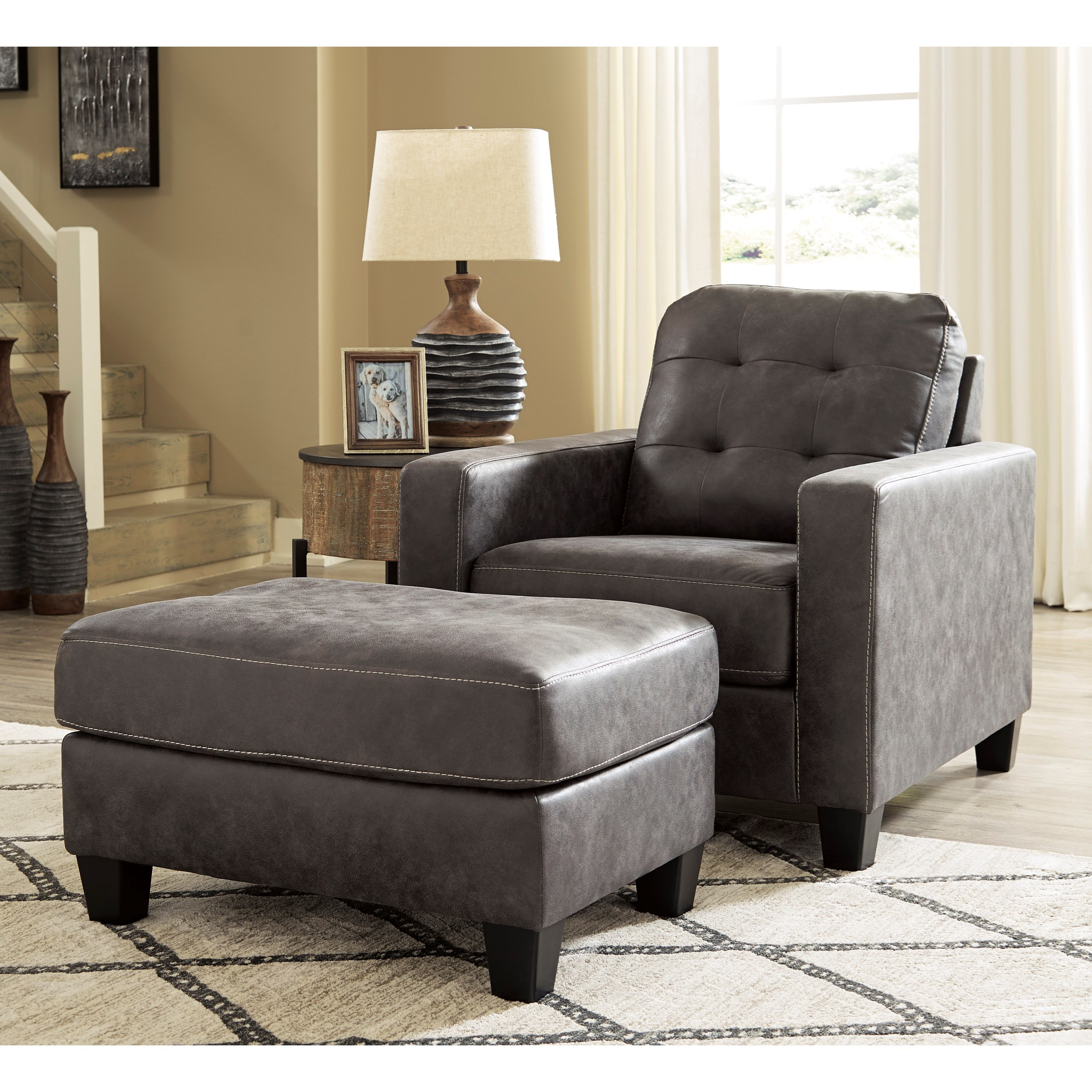 Venaldi Chair and Ottoman Set by Benchcraft at Miller Waldrop Furniture and Decor