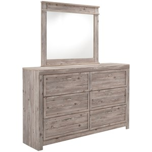 Weathered Beige Dresser & Bedroom Mirror