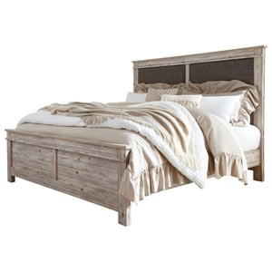 California King Upholstered Panel Bed in Weathered Beige Finish