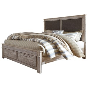 King Upholstered Panel Storage Bed with 2 Footboard Drawers