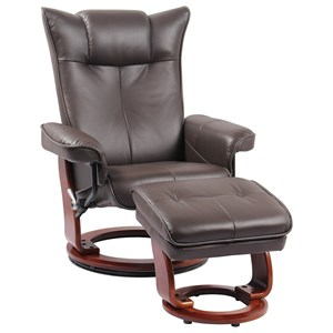 Contemporary Reclining Chair and Ottoman with Built-in Storage