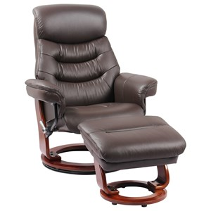 Reclining Chair and Ottoman and Adjustable Hidden Headrest