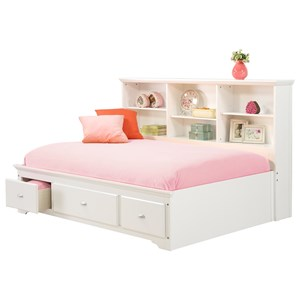 Full Lounge Bed with Bookcase Headboard & Footboard Drawers