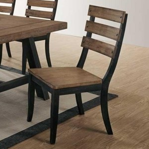 Slat Back Side Chair with Solid Rubberwood Seat