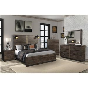 5 PC Bedroom Group with Speakers and USB in Queen Headboard
