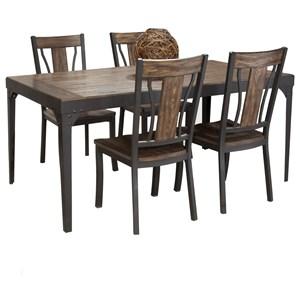 5-Piece Metal and Wood Rectangular Dining Table Set