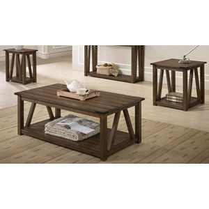 3-Piece Occasional Table Set with Plank Look Tops