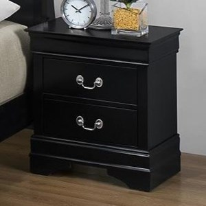 Louis Philippe Night Stand with 2 Drawers in Black Paint Finish