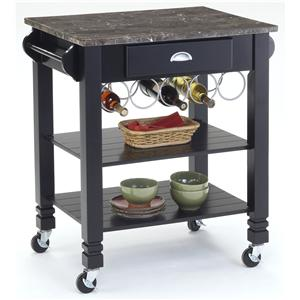 Caster Kitchen Island with Marble Top