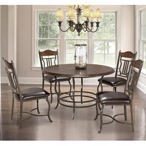 5-Piece Metal/Wood Round Dining Table Set