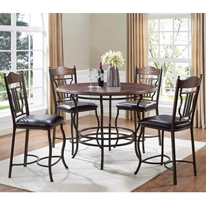 5-Piece Metal/Wood Round Counter Dining Table Set