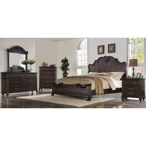 5 PC: QN BED/DRESSER/MIRROR/NIGHTSTAND/CHEST