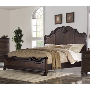 Traditional King Panel Bed with Shaped Headboard