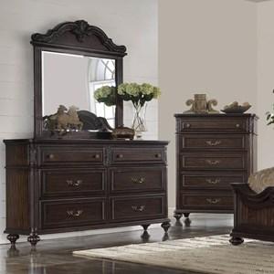 Traditional Dresser & Mirror in Dark Cherry Finish