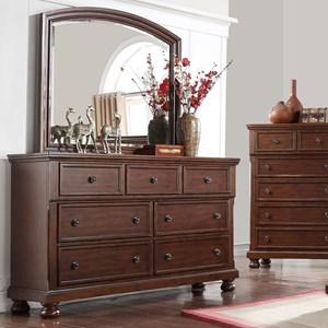 Transitional Cherry 7 Drawer Dresser & Mirror