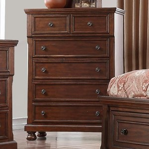 Transitional Cherry 5 Drawer Chest