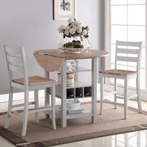3-Piece Drop-Leaf Counter Table Set