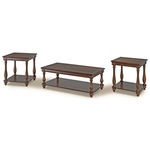 Cherry Finish 3 Pack of Occasional Tables with Turned Legs