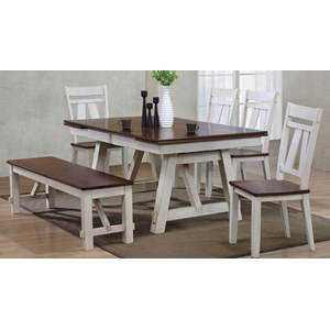 6-Piece Two-Tone Refectory Table Set with Bench