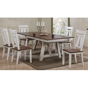 7-Piece Two-Tone Refectory Table Set