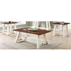 3-Piece Occasional Table Set with Saw Horse Style Bases