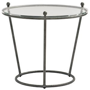 Round Glass and Metal End Table