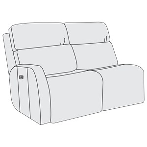 Left Arm Power Motion Loveseat