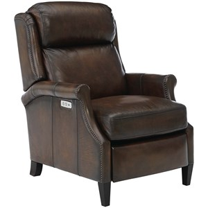 Traditional Power Motion High-Leg Recliner with Nailhead Trim