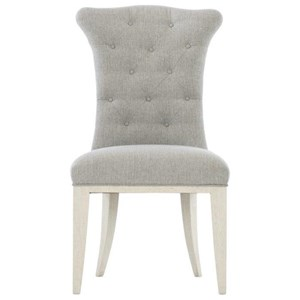 Transitional Upholstered Side Chair with Button Tufting