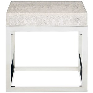 Solid Acrylic Top End Table with Stainless Steel Base