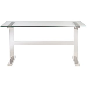 Contemporary Table Desk with Metal Legs and Glass Top