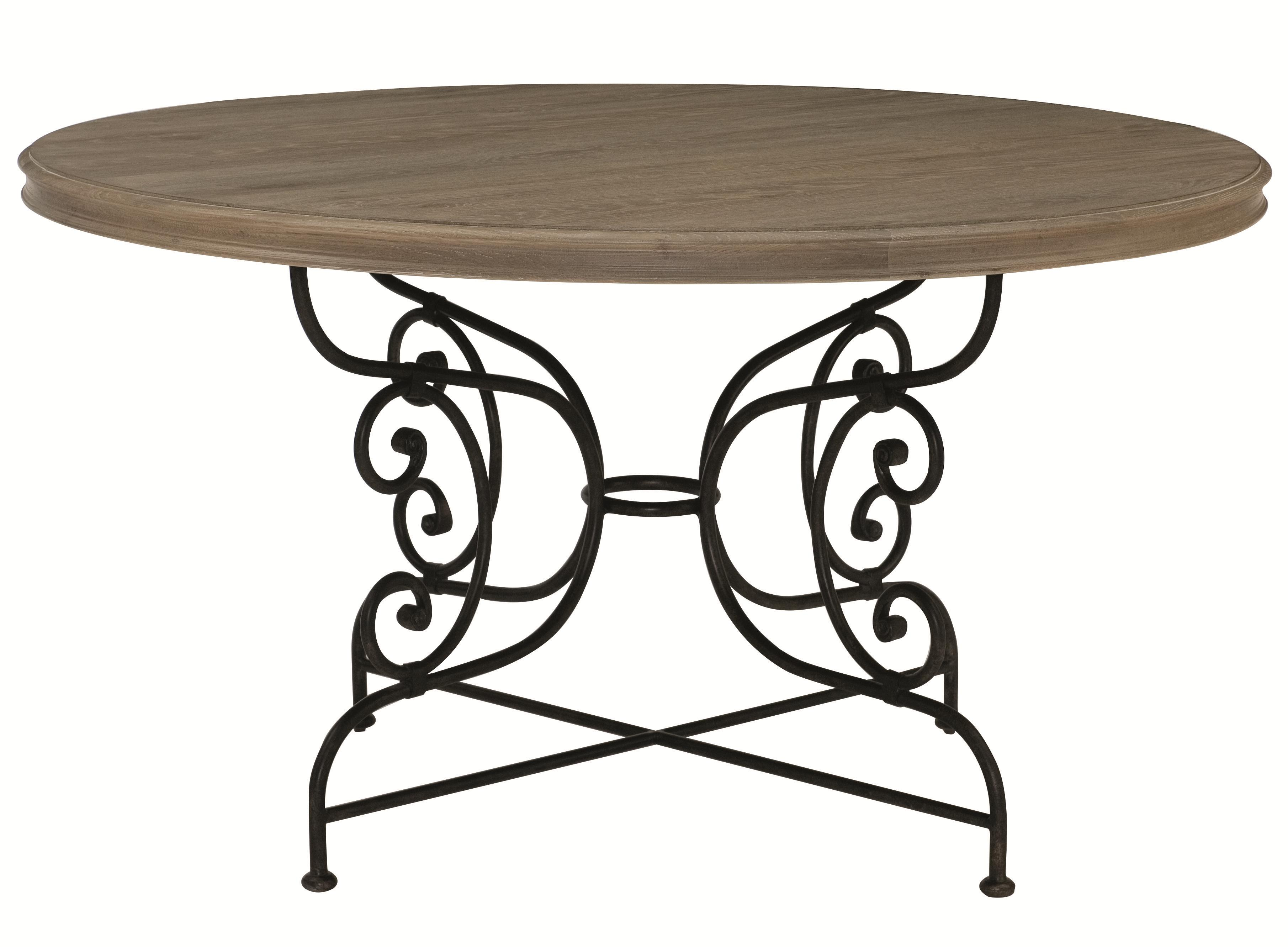 Auberge Round Dining Table with Metal Base by Bernhardt at Belfort Furniture