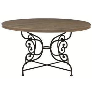 Round Dining Table with Metal Base
