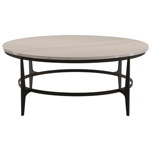 Contemporary Oval Metal Cocktail Table
