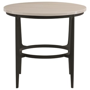 Contemporary Round Metal End Table with Ceramic Table Top