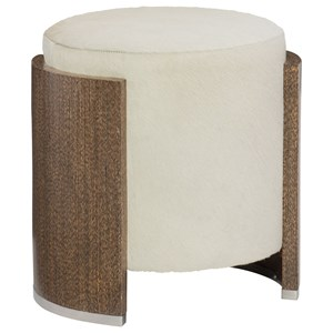 Contemporary Round Accent Ottoman with Wood Frame