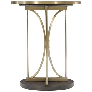 Contemporary Round Drink Table with Steel Base